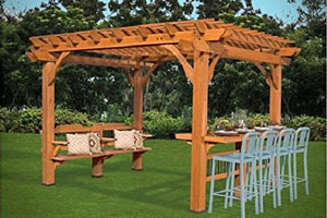 Cedar Pergola with Built-in Bench and Bar Table