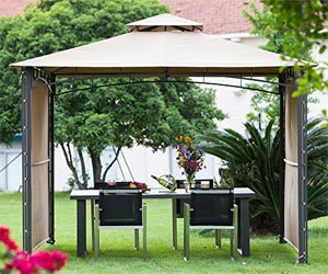 Steel Frame Gazebo with Privacy Panels