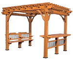 Cedar Pergola Kit with Bar & Bench