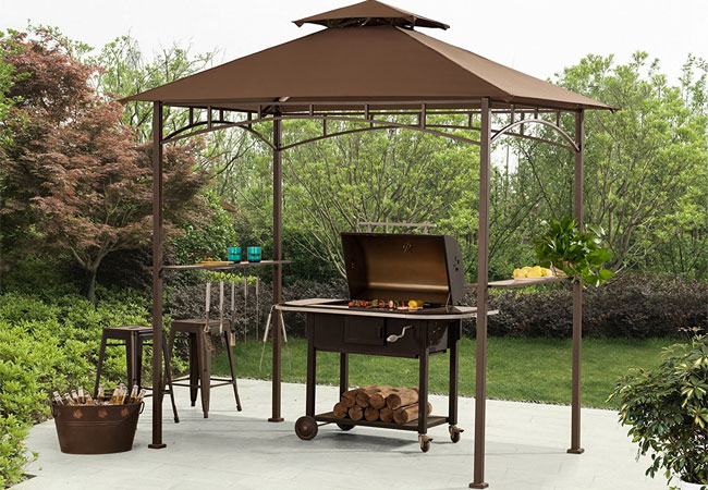 Sunjoy BBQ Grill Gazebo with Side Tables & Sunjoy BBQ Grill Gazebo - Itu0027s More than a Bargain