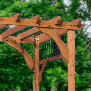 Upper Corner of Cedar Pergola Swing