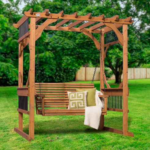 Cedar Pergola Swing Kit for backyard
